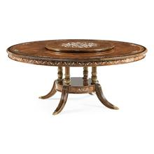 """70"""" Burl & mother of pearl round 70 3/4"""" dining table"""