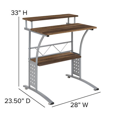 Flash Furniture - Clifton Rustic Walnut Computer Desk with Top and Lower Storage Shelves