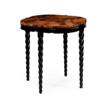 "28"" Black twisted leg quatrefoil side table"