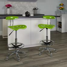 View Product - Vibrant Apple Green and Chrome Drafting Stool with Tractor Seat