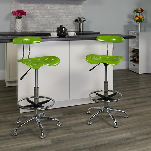 Flash Furniture - Vibrant Apple Green and Chrome Drafting Stool with Tractor Seat