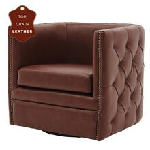 Leslie Top Grain Leather Swivel Tufted Accent Arm Chair, Garrett Brown