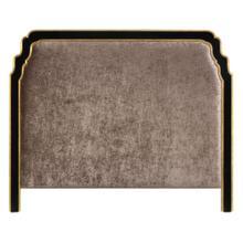 US King Black & Gilded Headboard, Upholstered in Truffle Velvet