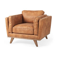 See Details - Brooks 41.7L x 34.8W x 33.5H Cognac Brown Faux Leather Chair W/ Medium Brown Wooden Legs