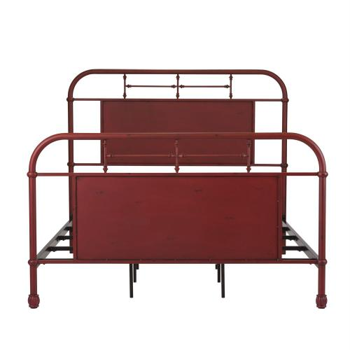 Queen Metal Bed - Red