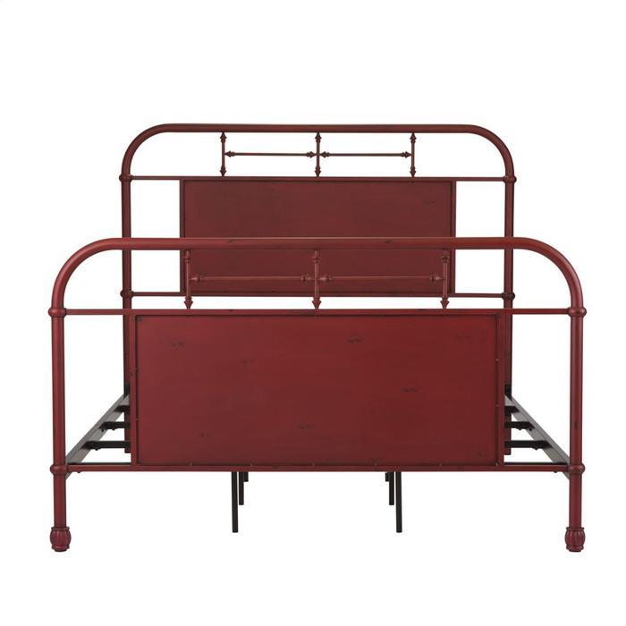 Queen Metal Bed - Red