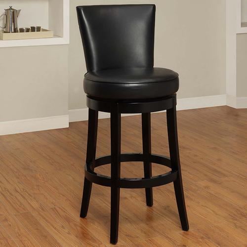 """Armen Living - Boston Swivel Barstool In Black Bonded Leather 26"""" seat height"""
