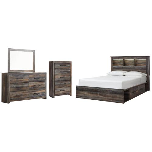 Queen Bookcase Bed With 4 Storage Drawers With Mirrored Dresser and Chest