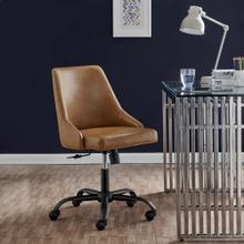 Designate Swivel Vegan Leather Office Chair in Black Tan