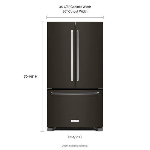 KitchenAid - 25 Cu. Ft. 36-Width Standard Depth French Door Refrigerator with Interior Dispense - Black Stainless Steel with PrintShield™ Finish