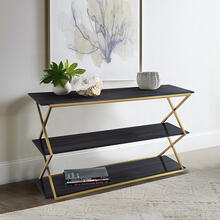 See Details - Westlake 3-Tier Dark Brown Console Table with Brushed Gold Legs
