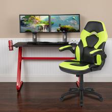 Red Gaming Desk and Green\/Black Racing Chair Set with Cup Holder and Headphone Hook