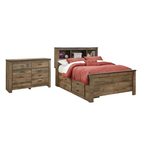 Full Panel Bed With 2 Storage Drawers With Dresser