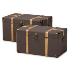 See Details - Baxton Studio Stephen Modern and Contemporary Transitional Dark Brown Fabric Upholstered and Oak Brown Finished 2-Piece Storage Trunk Set