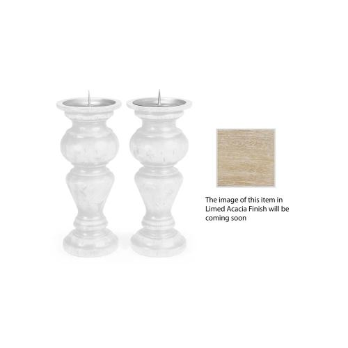 Pair of Small Candlesticks in Limed Acacia