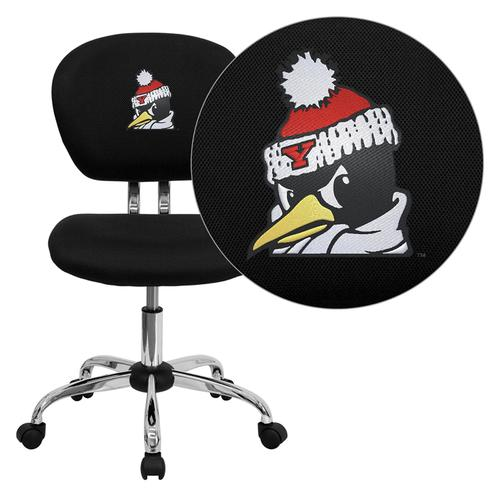 Youngstown State University Penguins Embroidered Black Mesh Task Chair with Chrome Base
