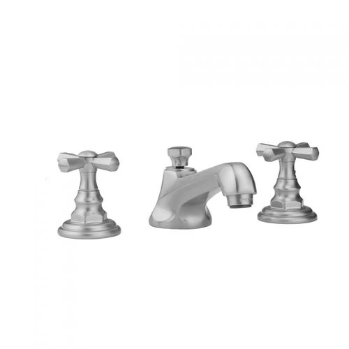 Jaclo - Pewter - Westfield Faucet with Hex Cross Handles & Fully Polished & Plated Pop-Up Drain