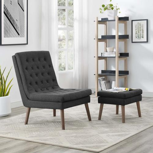 Modify Upholstered Lounge Chair and Ottoman in Gray