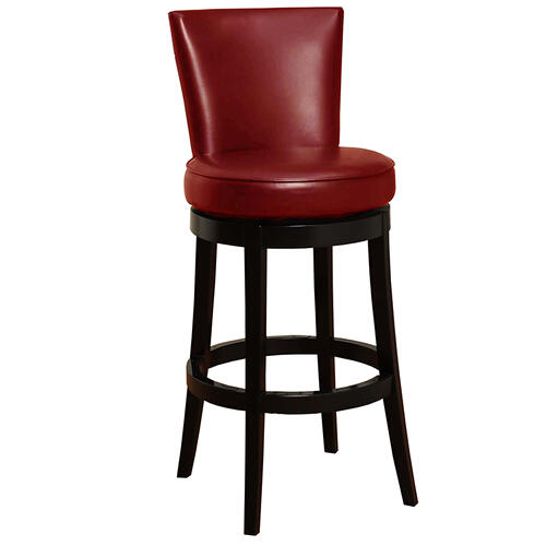 "Armen Living - Boston Swivel Barstool In Red Bonded Leather 26"" seat height"