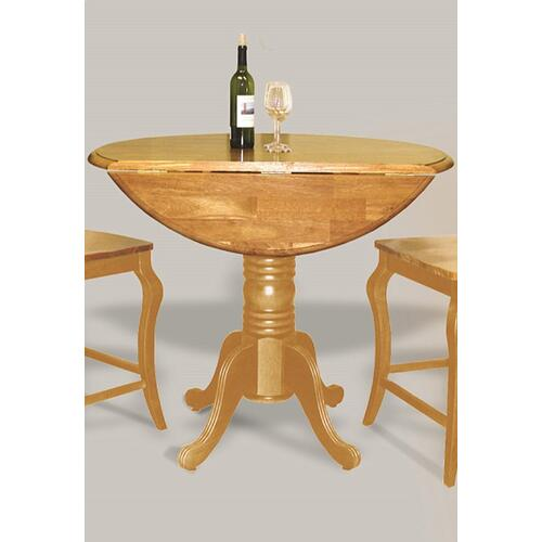 Round Drop Leaf Pub Table - Light Oak Finish