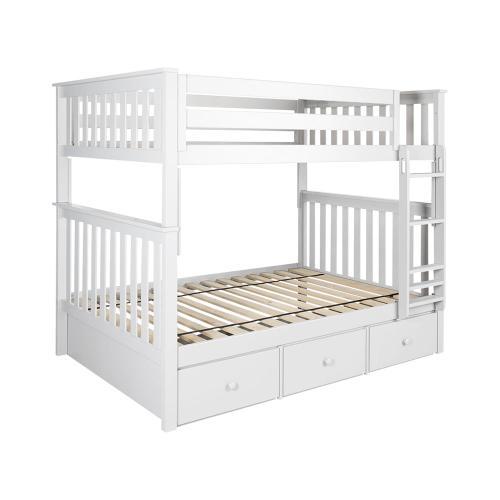 Jackpot Kids Furniture - Full/Full Bunk   3 Drawer Storage White