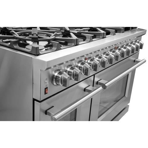 "48"" Gas Range FORNO ALTA QUALITA Pro-Style Gas 8 DEFENDI Italian Burners 107,000 BTU All 304 Stainless Steel FFSGS6239-48"
