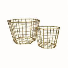 Hexagon Brass Plated Baskets, Set of 2