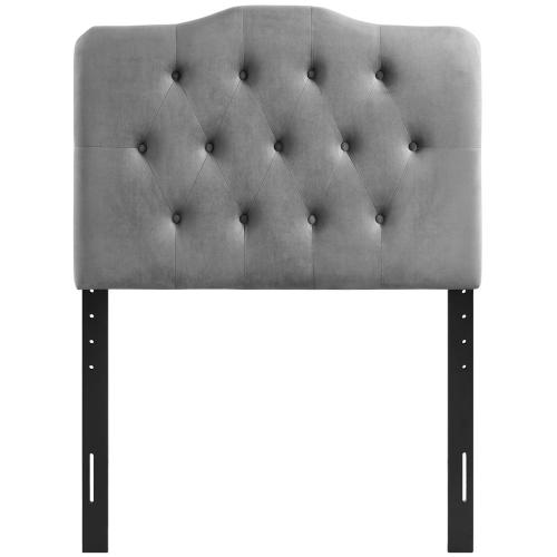 Annabel Twin Diamond Tufted Performance Velvet Headboard in Gray