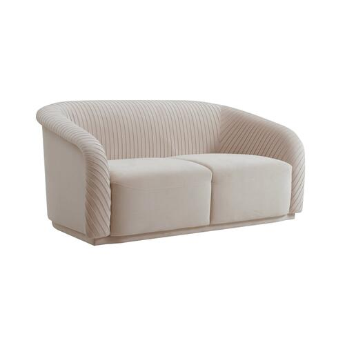 Tov Furniture - Yara Pleated Beige Velvet Loveseat by Inspire Me! Home Decor