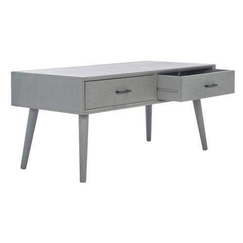 Safavieh - Mozart Mid Century 2 Drawer Coffee Table - Distressed Grey