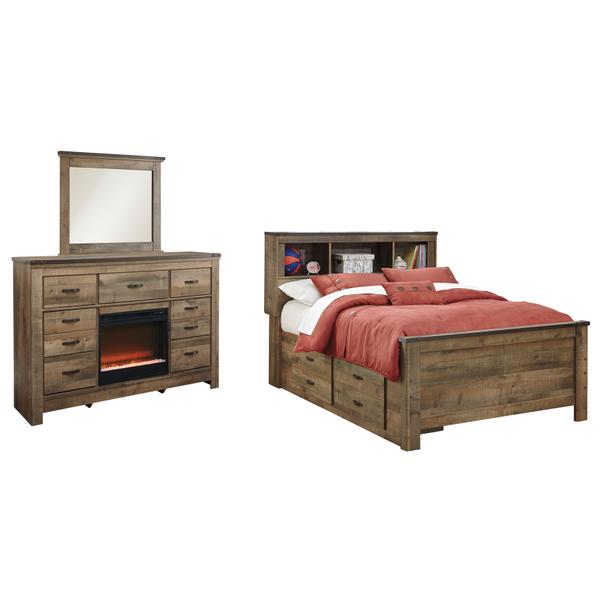 See Details - Full Panel Bed With 2 Storage Drawers With Mirrored Dresser