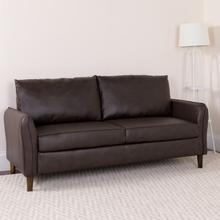 Product Image - Milton Park Upholstered Plush Pillow Back Sofa in Brown LeatherSoft