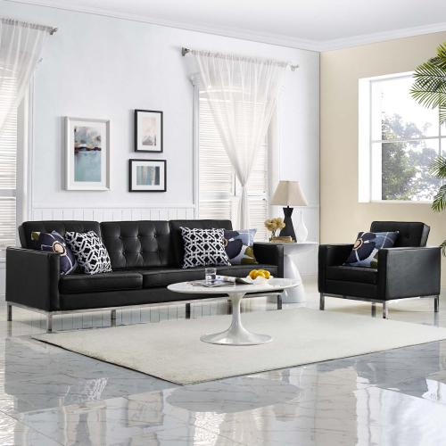 Loft 2 Piece Leather Sofa and Armchair Set in Black