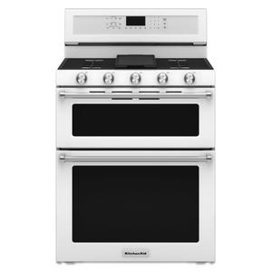 KitchenAid30-Inch 5 Burner Gas Double Oven Convection Range - White