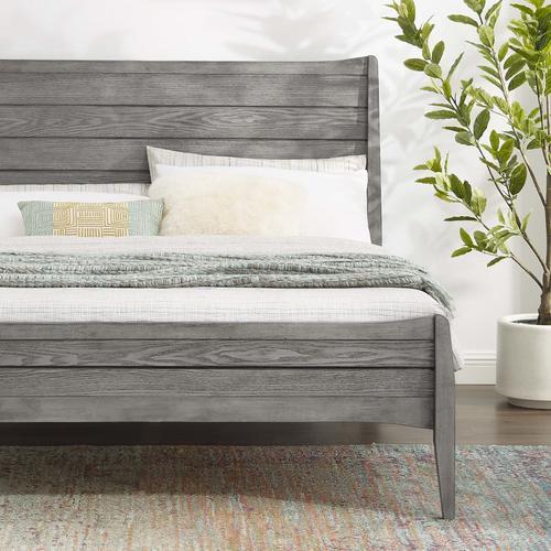 Georgia King Wood Platform Bed in Gray