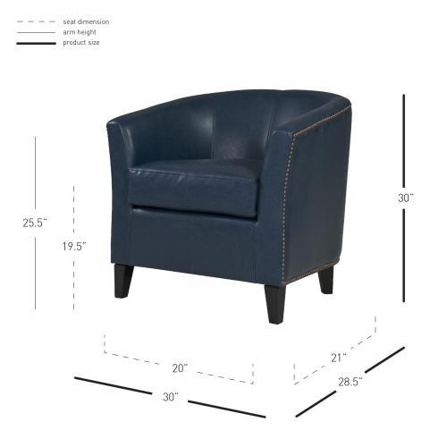 Orson Bonded Leather Tub Chair Black Legs, Vintage Blue