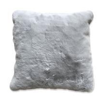 "Chinchilla Feel Faux Fur Pillow by Rug Factory Plus - 20"" x 20"" / Silver"