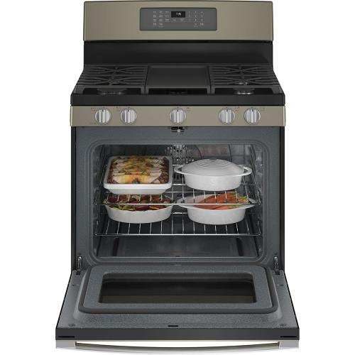 """GE 30"""" Freestanding Gas Convection Range with No Preheat Air Fry Slate - JCGB735EPES"""