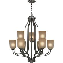 9-lite Chandelier, Dark Bronze W/L.AMBER Glass Shd, A 60wx9