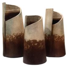 View Product - Water Blue: Rolled Clay Vases (Set of 3)