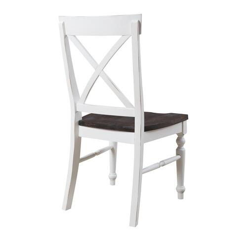 Emerald Home Furnishings - Emerald Home Mountain Retreat X-back Dining Chair Antique White W/brown Wood Seat D601-20