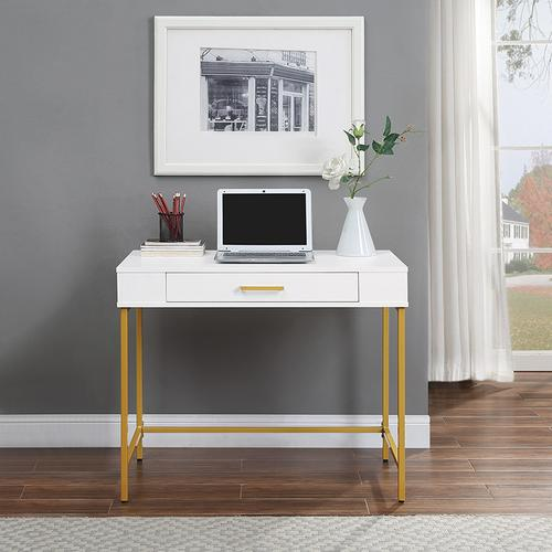 Modern Life Writing Desk In White Finish With Gold Metal Frame