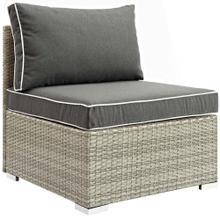 Repose Outdoor Patio Armless Chair in Light Gray Charcoal