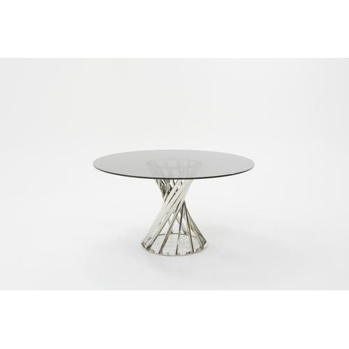 Modrest Renee Modern Round Smoked Glass Dining Table