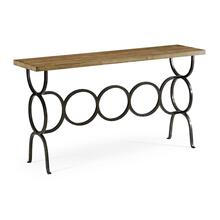 Medium Driftwood Console with Circular Wrought Iron Base