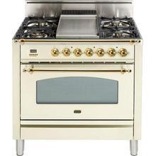 Nostalgie 36 Inch Gas Liquid Propane Freestanding Range in Antique White with Brass Trim