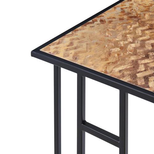 Nantes Pattern C-Shape End Table Set of 2, Golden Wave