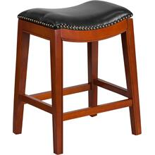 26'' High Backless Light Cherry Wood Counter Height Stool with Black LeatherSoft Saddle Seat