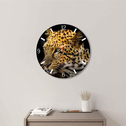 Grako Design - Leopard In Black Background Round Square Acrylic Wall Clock