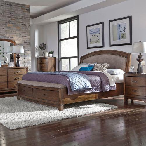 Liberty Furniture Industries - King Storage Bed, Dresser & Mirror, Night Stand